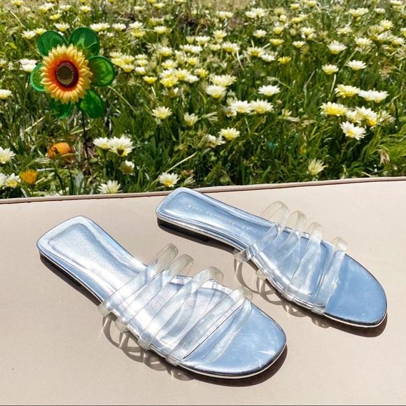 Zara Square Toe Clear Strappy Sandals